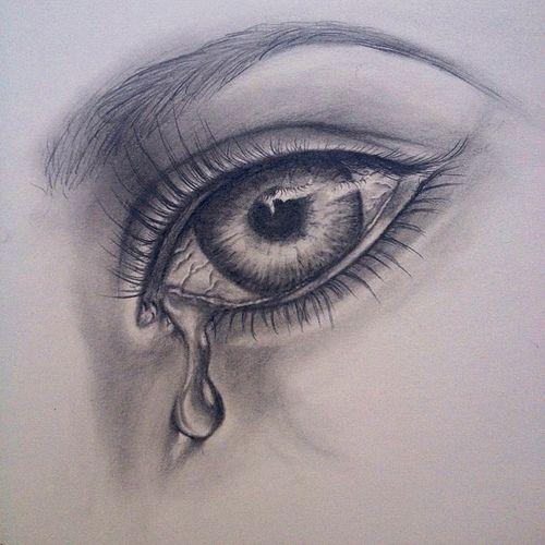 Crying Girl Eyes Drawing | photo