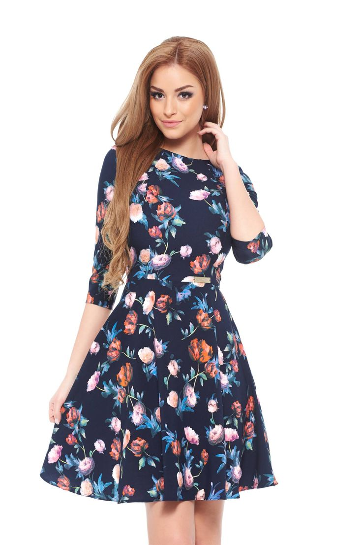 LaDonna Majestic DarkBlue Dress, floral prints, back zipper fastening, 3/4 sleeves, slightly elastic fabric