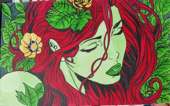 Poison Ivy  Batman Rival Comic Art  PRINT or ORIGINAL by PowerGals