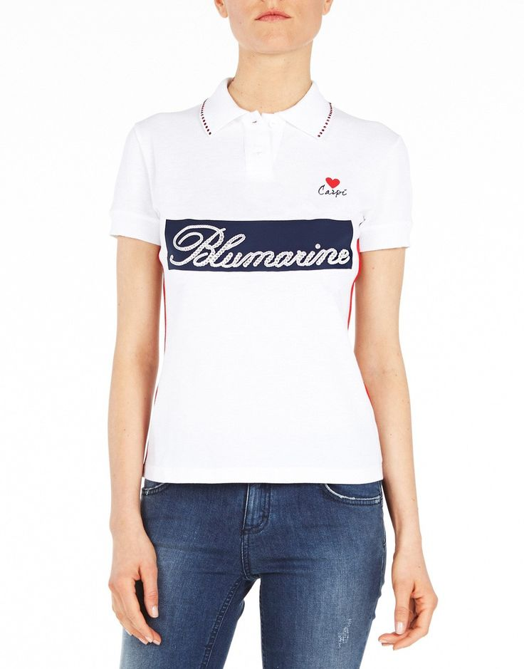 Blumarine celebrates the promotion to the A League of the soccer team it sponsors, Carpi F.C. 1909, with a special polo shirt. An exclusive Limited Edition top in cotton piqué with embellished logotype, Swarovski crystal details and printed back. Wear it with jeans and sneakers, for a major league look!