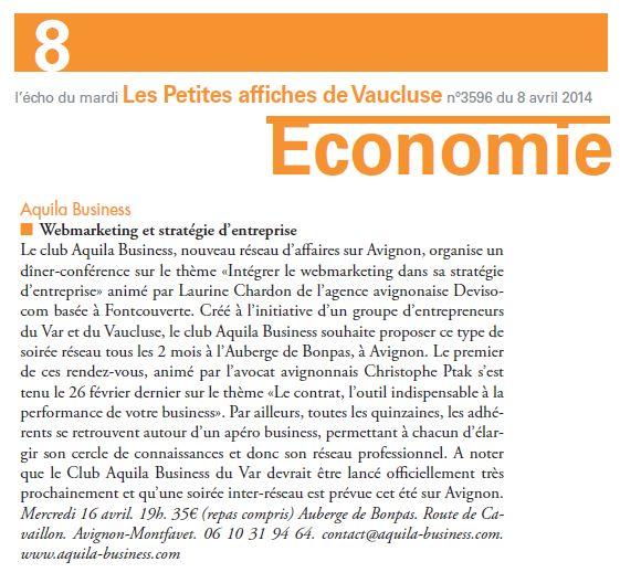 Article de presse paru dans L'Echo du mardi, Les Petites Affiches de Vaucluse du 08/04/2014. #Conférence #Stratégie #Webmarketing