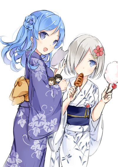 2girls blue_eyes blue_hair blush candy_apple character_doll commentary cotton_candy eating flower food hair_flower hair_ornament hair_over_one_eye hairclip hamakaze_(kantai_collection) ikayaki isokaze_(kantai_collection) japanese_clothes kantai_collection kimono looking_at_viewer mask multiple_girls silver_hair smile squid tanikaze_(kantai_collection) urakaze_(kantai_collection) wataame27 white_background yukata