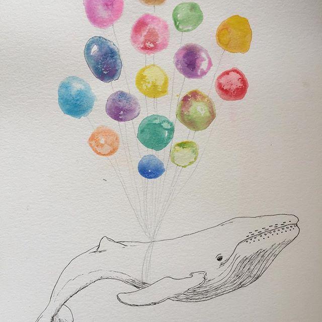 Un sueño.  .  .  .  .  #acuarela #watercolor #color #watercolorillustration #illustration #ilustradoraschilenas #ilustracion #handdrawn #hechoamano #handmade #wasserfarben #kidsillustration #baloons #whale #wale #ballena #dream #sueño #traum #idilico #dreamer #globos #chile #santiago #ilustradoreschilenos