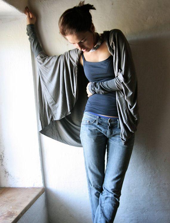 Cardigan lungo maglione grigio cardigan Oversize top di larimeloom