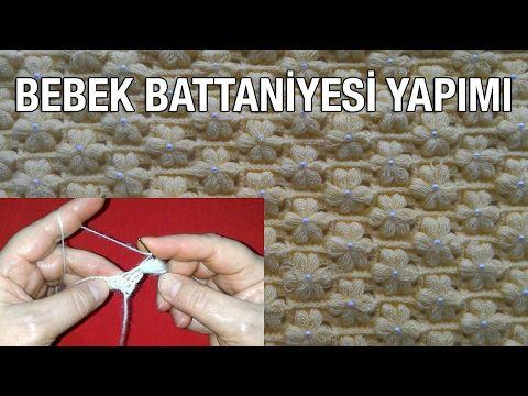 Türkçe Videolu İnci Çiçekli Bebek Battaniye, Yelek, Şal Örneği Yapımı