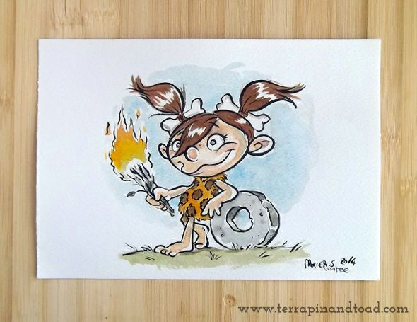 Terrapin and Toad: Sketchbook doodles - Cave Girl watercolour#terrapinandtoad