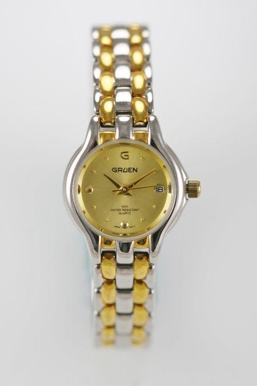 Gruen Watch Womens Gold Silver Steel Stainless Water Resistant Battery Quartz