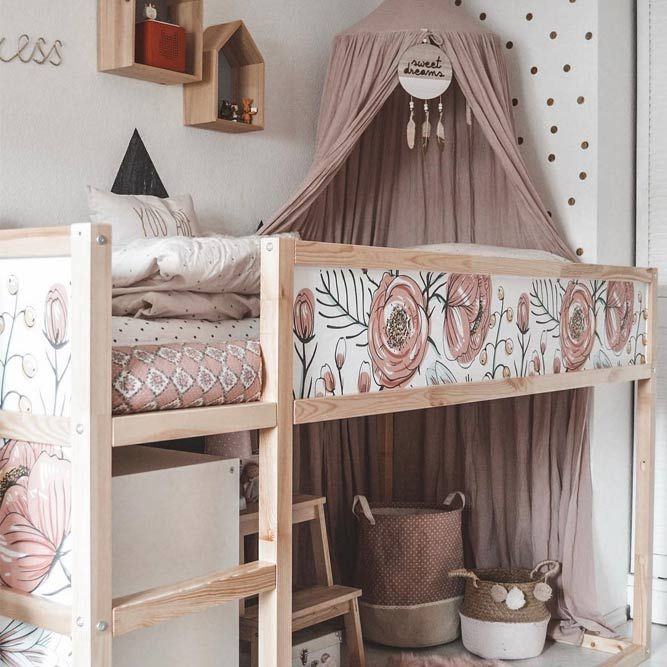 Pink Girly Bedroom Loft Bed With Canopy #girlbedroom #canopybed ★ Loft bed ideas for teen girls and not only. These beds are a perfect fit for small rooms and will grant the room that particular modern touch that many are looking for. #loftbed #bedroomideas #bedroomgoals #teenbedroom #kidsbedroom #spaceorganization