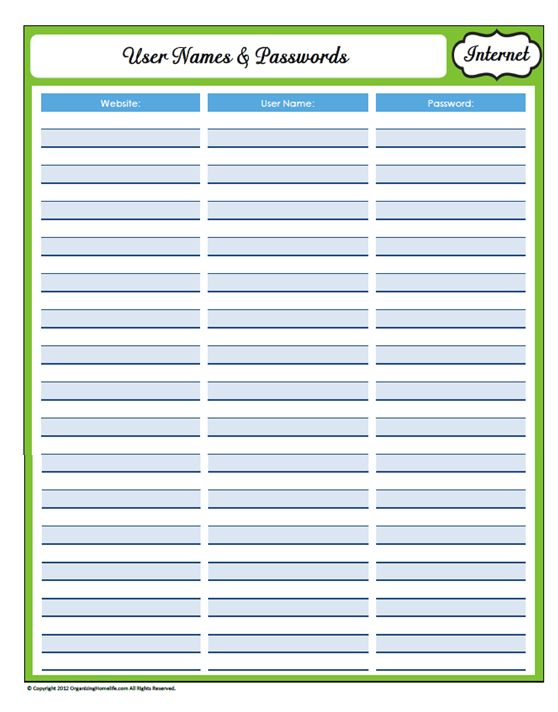 Printables Password Worksheet 1000 ideas about password printable on pinterest monthly 31 days of home management binder printables day 17 website user names and passwords