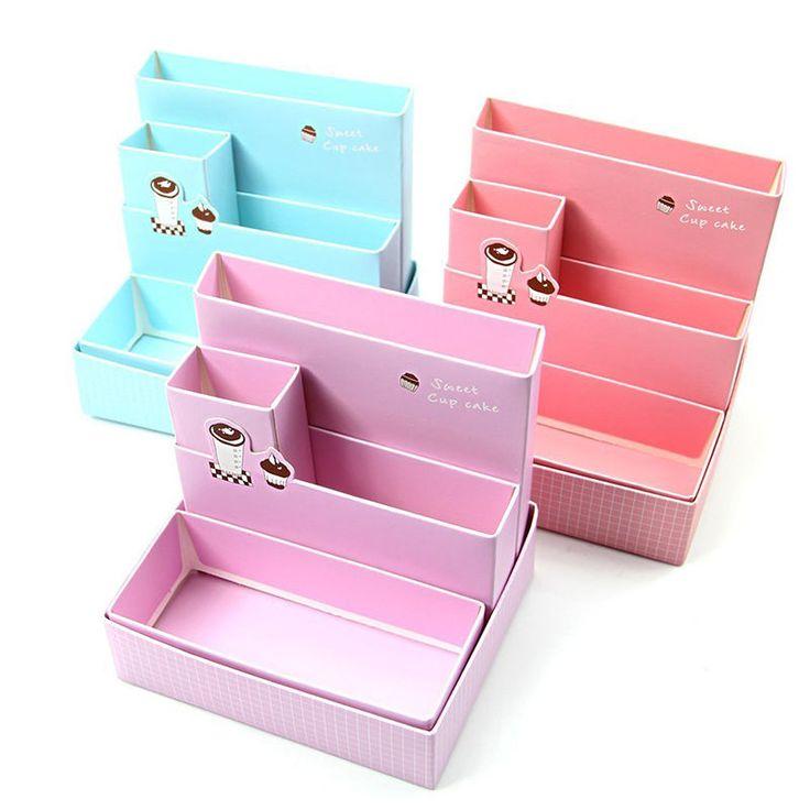 DIY Paper Board Storage Box Desk Decor Stationery Cosmetic Makeup Organizer New