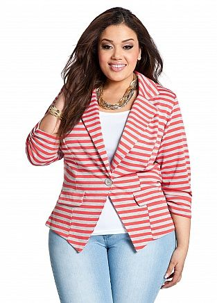 Who said that curvy women can't wear stripes? The shorter jacket that is buttoned at the waist creates shape and balances the lower half.  Cute look!
