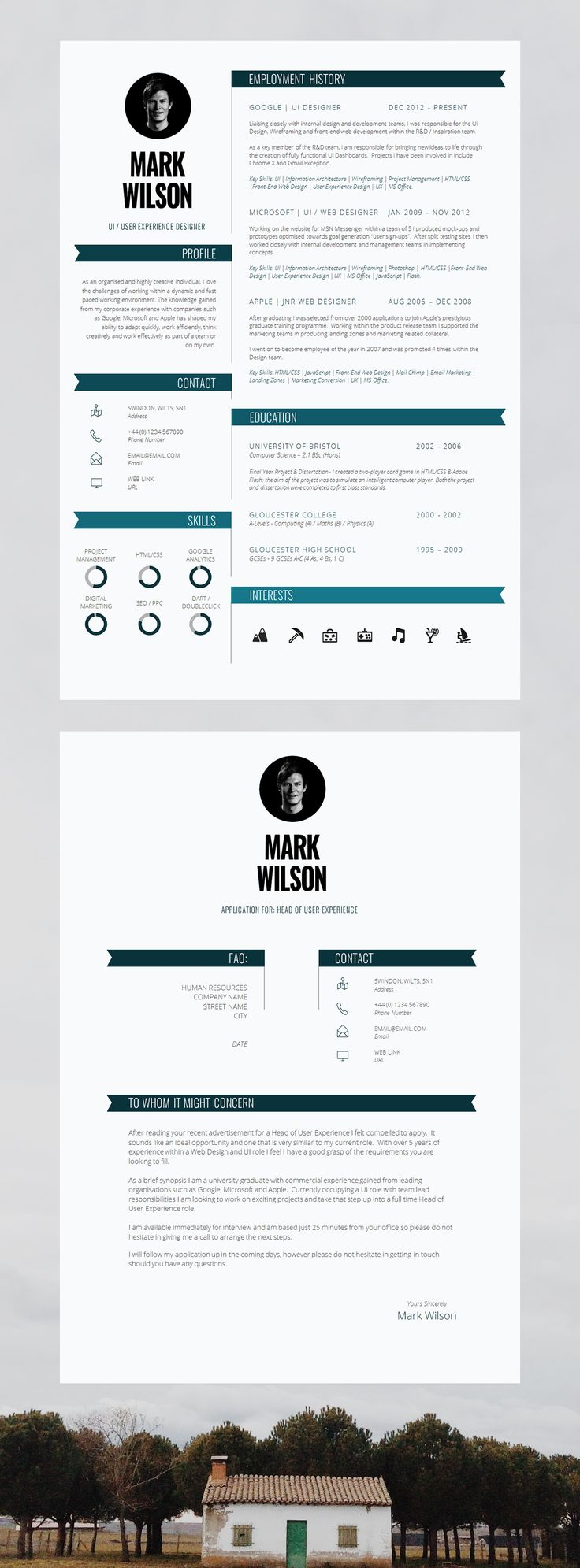 modern resume template cv template cv design cover letter for ms word instant digital download pimlico - Unique Resume Template
