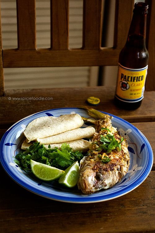 Caribbean Yellowtail Snapper: Cooked with coconut oil, Serrano peppers and served with corn tortillas | #Mexican #snapper #tacos
