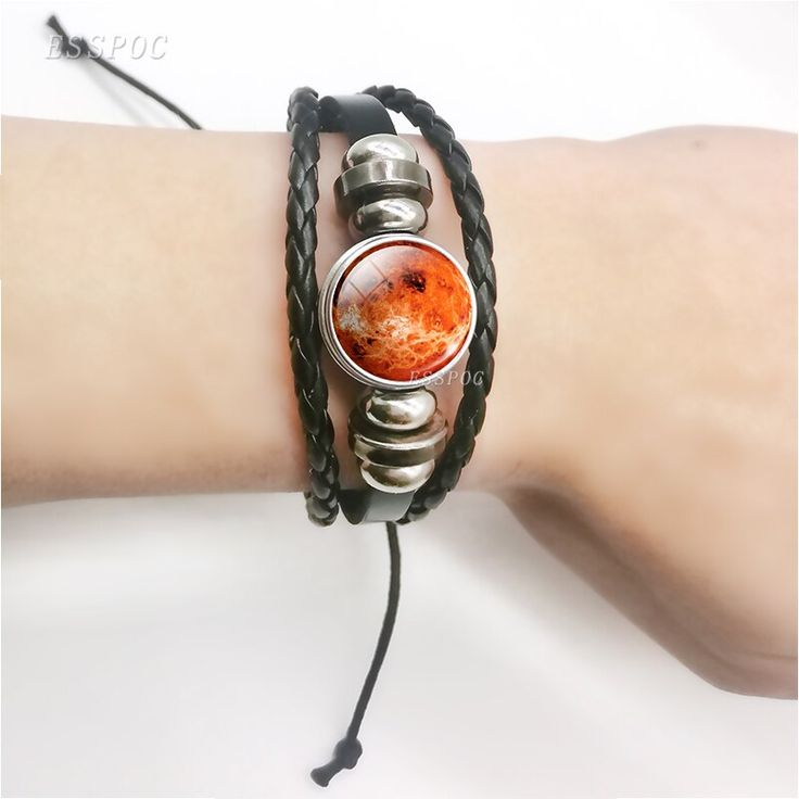 Venus jewelry galaxy universe space planet punk braided leather black bracelet g…  – Products