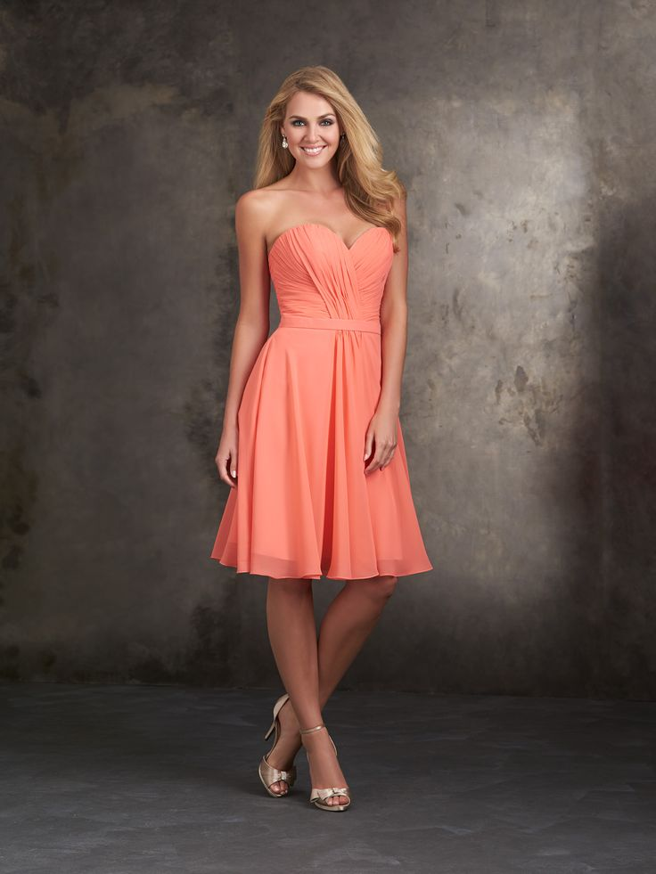 Allure Bridesmaids STYLE: 1414 This strapless sweetheart dress features gracefully draped chiffon.