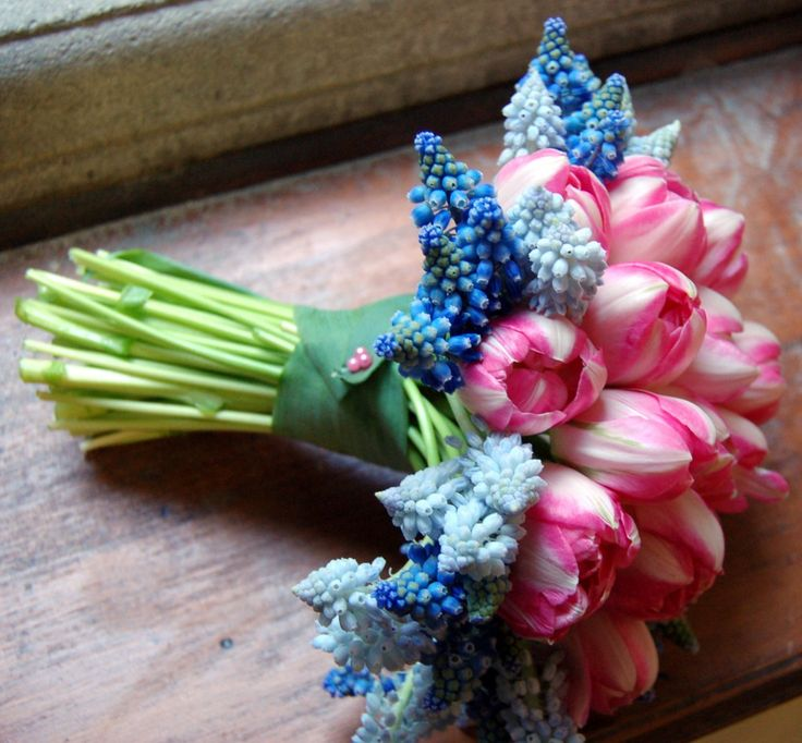 Our purple Muscari and pink tulip bridesmaid spring bouquet - photo by @Documentary Associates