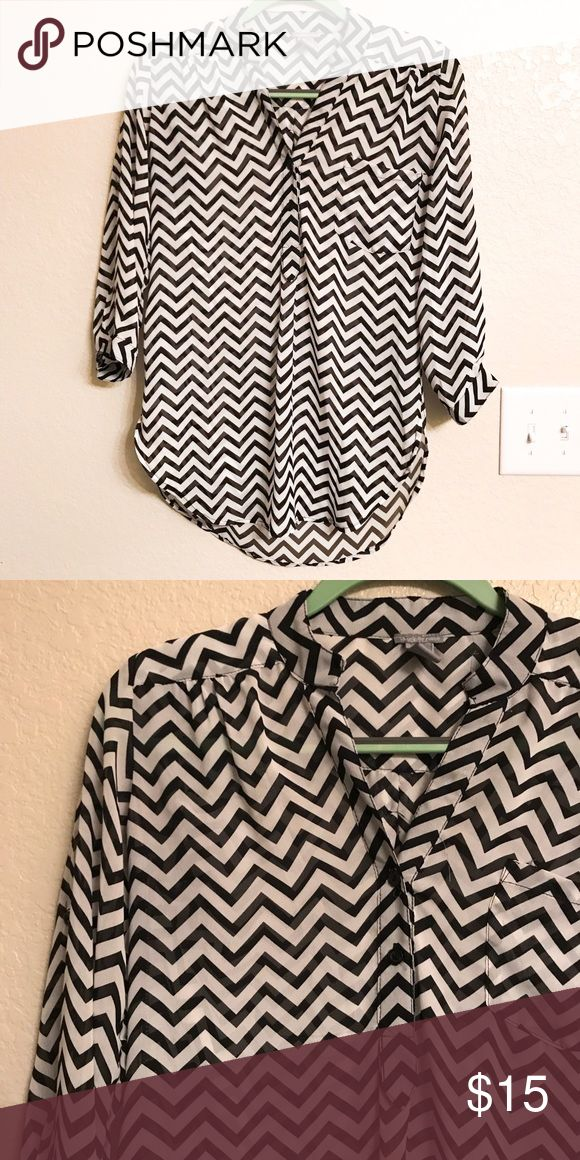 Chevron Blouse Good condition chevron blouse from Charlotte Russe. 100% polyester. Charlotte Russe Tops Blouses