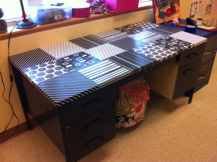 Mod Podge Diy Scrapbook Paper Desk Mod Podge Pinterest Diy Scrapbook Scrapbook Paper And