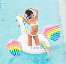250 cm 98 polegada gigante do unicórnio do arco 2017 novo design colorido pegasus ampla piscina de natação bóia inflável ride-on carros alegóricos piscina(China (Mainland))