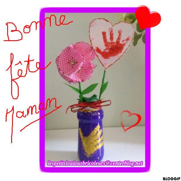 Petit vase pour maman pot en verre peinture paillettes - Paillette pour peinture ...