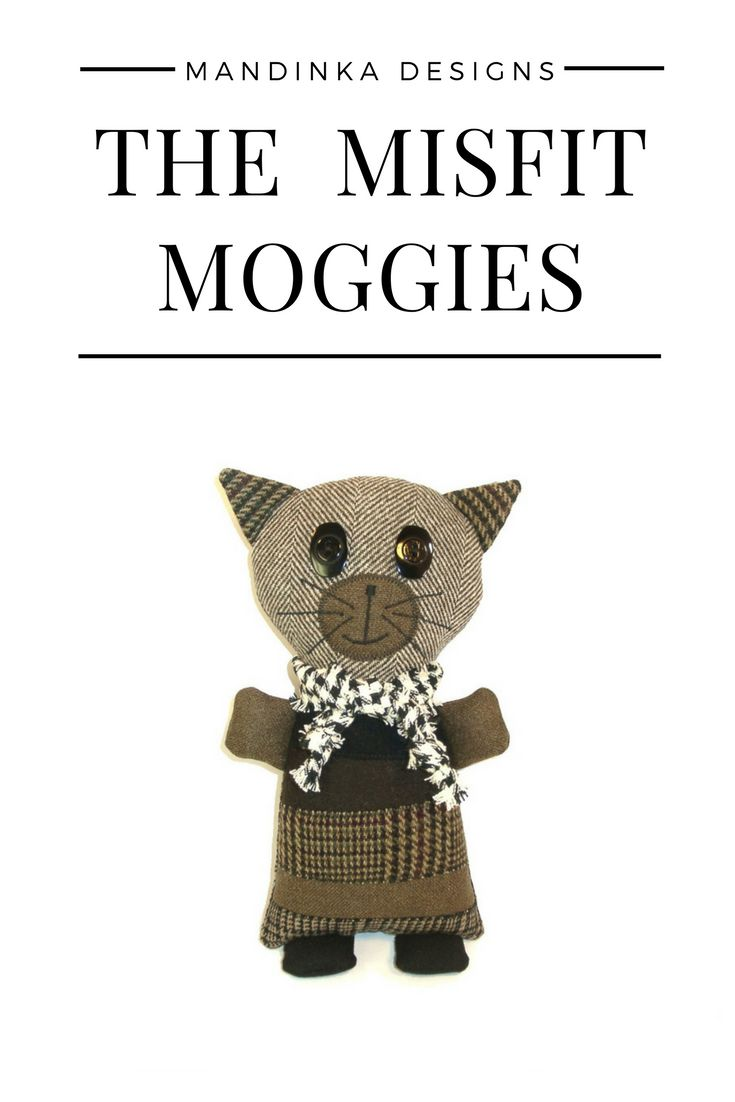 The Misfit Moggies are adorable, lovable cats made from suit coat remnants and scraps. Moggy (or moggie) is a British word for non-pedigree cats - the mutts of the cat world. #stuffedanimalcat #catlover #stuffedanimal #tweed #recycledart