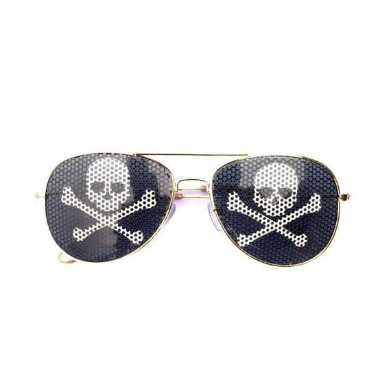 Skull & Crossbones Pirate Graphic Polarized Aviator Party