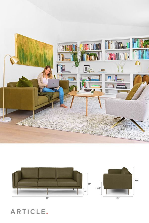 Olive Green Leather Sofa, 3 Seater, Brass Legs | Article ...