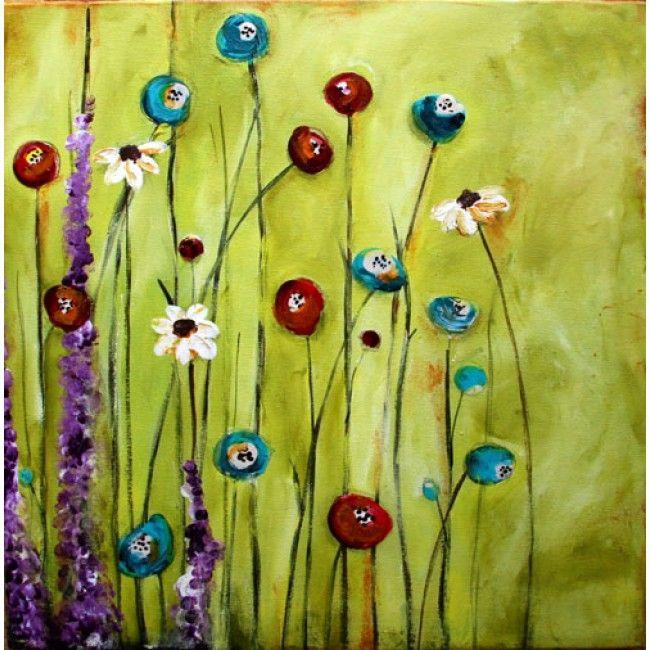 donna downey original canvas - garden glimpse