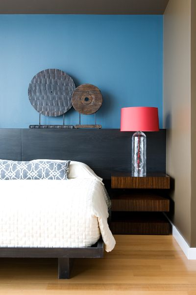 Blue accent wall in this Mid-Town Nashville studio loft. Interior design by Beth Haley Design.