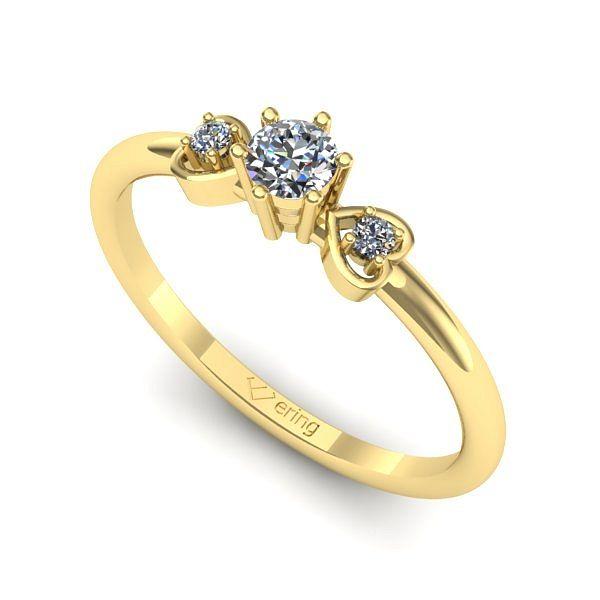 Inelul este realizat din aur galben 14k, greutate: ~1.50gr. Produsul are in componenta sa: 2 x diamant, dimensiune: ~1.50mm, greutate totala: ~0.03ct, culoare: G, claritate: SI1, forma: round 1 x diamant, dimensiune: ~3.20mm, greutate: 0.12ct , culoare: G, claritate: VS2, forma: round