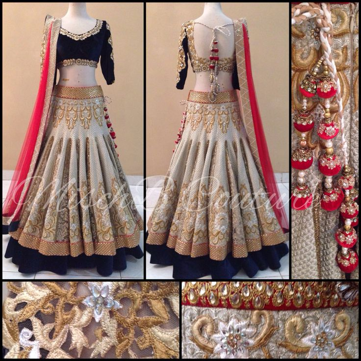 Bridal lehenga by MischB Couture and details