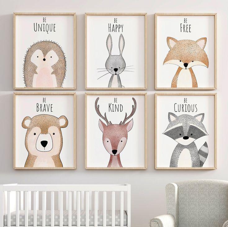Woodland inspiration Nursery décor, crèche de l'art, pépinière estampes, art mural chambre d'enfant, Woodland imprimés animaux, Nursery décor, pépinière de la forêt
