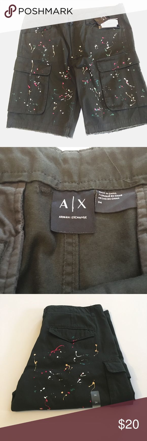Armani Exchange Paint splatter shorts For you inner artist. brand new with tags cargo shortss A/X Armani Exchange Shorts Cargo