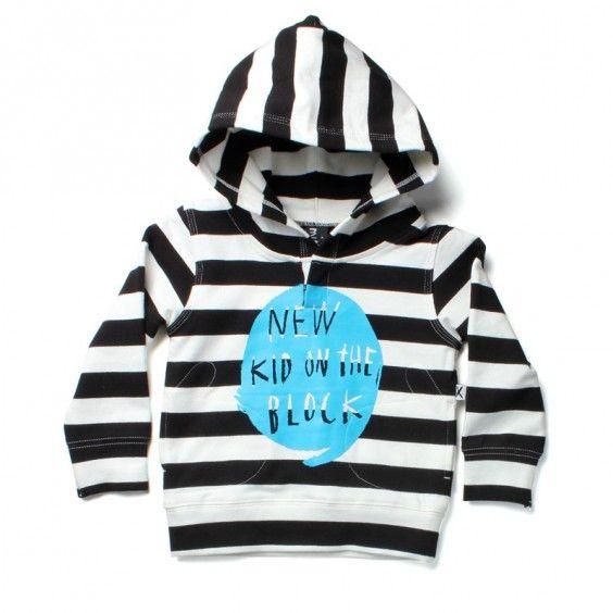 Minti New Kid Mitten Hood - Black/White