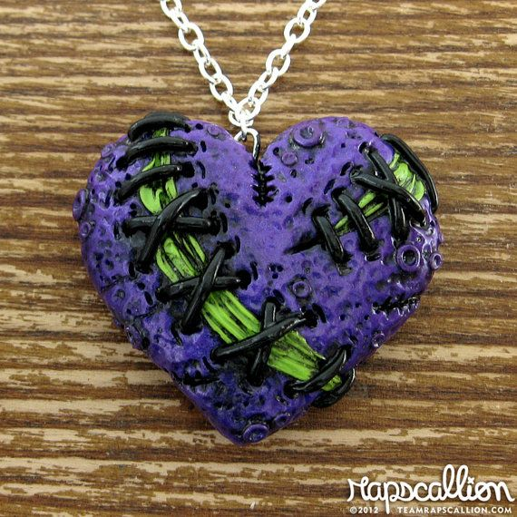 Purple Stitched Zombie Heart Necklace by rapscalliondesign on Etsy