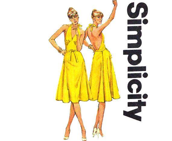 Vintage 80s Dress Pattern / Summer Halter Dress / Backless Sun Dress Pattern / Wrap Dress Maxi Dress Pattern / Simplicity 9898 Bust 36 UNCUT