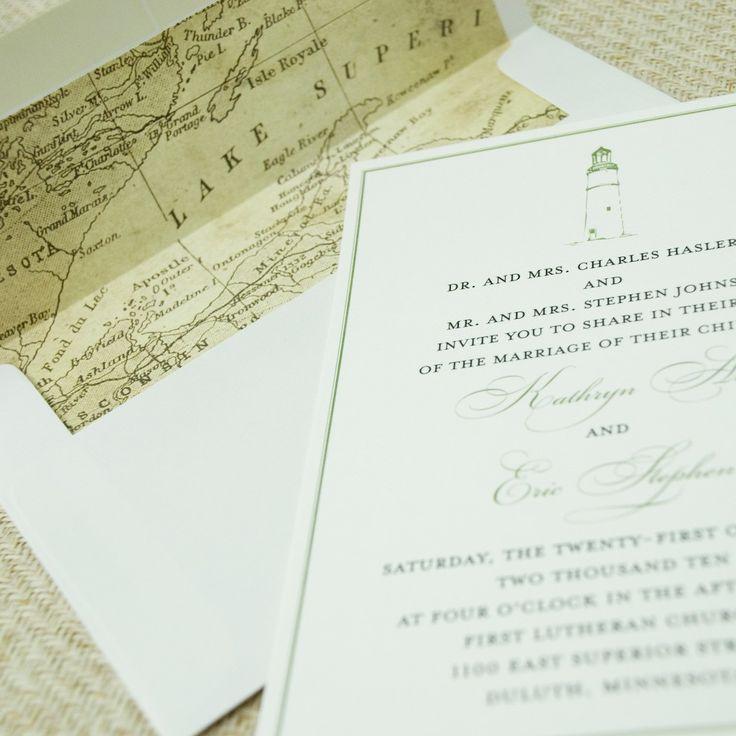 Vintage Map Wedding Invitation (Lake Superior)