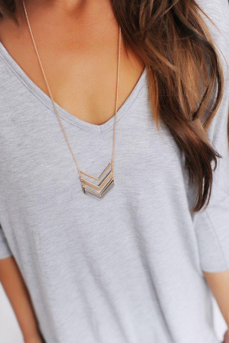 Two Tone Chevron Necklace- Gold - Dottie Couture Boutique