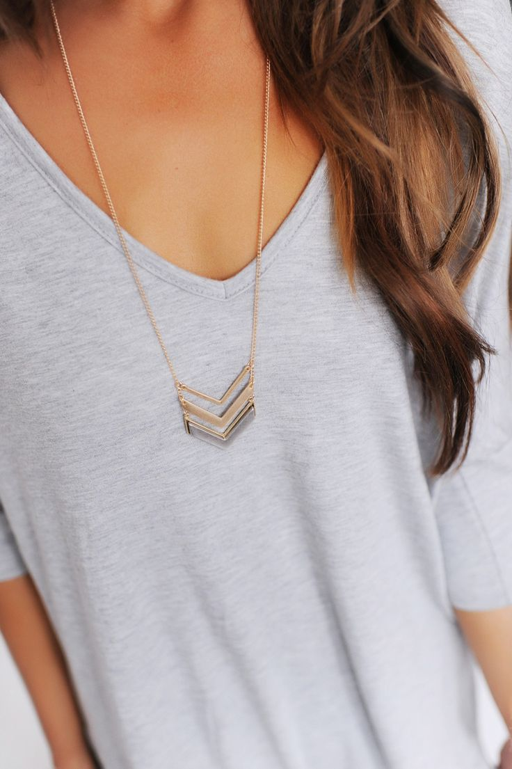 Two Tone Chevron Necklace- Gold - Dottie Couture Boutique