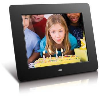 """Aluratek ADMPF108F 8"""" Digital Photo Frame With 512MB Memory ADMPF108F 8"""" Digital Photo Frame With 512MB Memory, 8"""" TFT True Color LCD, 512MB Embedded Memory, High-Quality Black Frame,"""