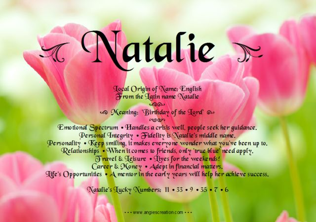 "Natalie - name meaning & more - a fun gift pin from my ""Pindred"" spirit, Ashaley Lenora"