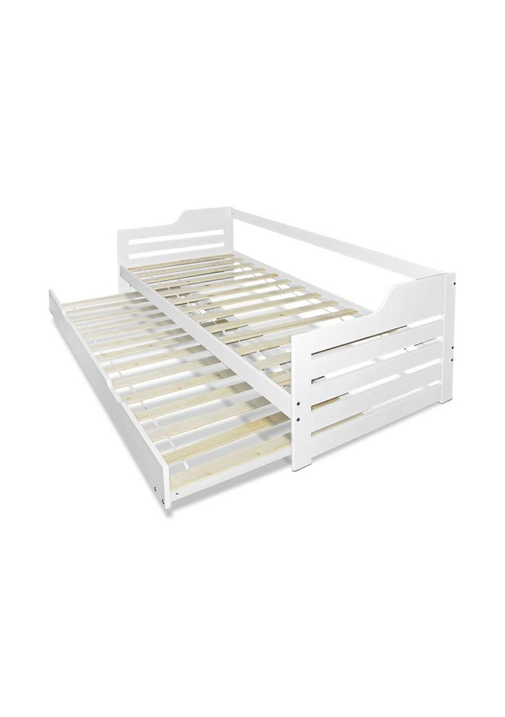 Featuring quality construction, built with timber slats, and solid pine wood and smooth finish edges. It is designed with a space saving pull-out trundle and can be used as two single beds when needed. * Wooden bed frame * Space saving pull-out trundle for your guests * Constructed with solid pine wood & quality timber slats * Stable & sturdy construction * Smooth finish edges * Heavy duty steel fixings * Suitable for adult and children * Bed frame material: Pine wood & Plywood ...