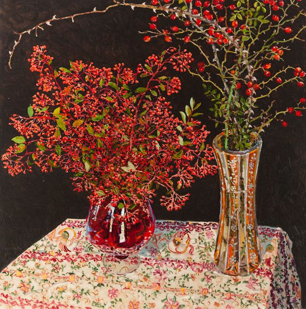 Cotoneaster Brier 2014 oil on board 100 x 100cm by Lucy Cullinton
