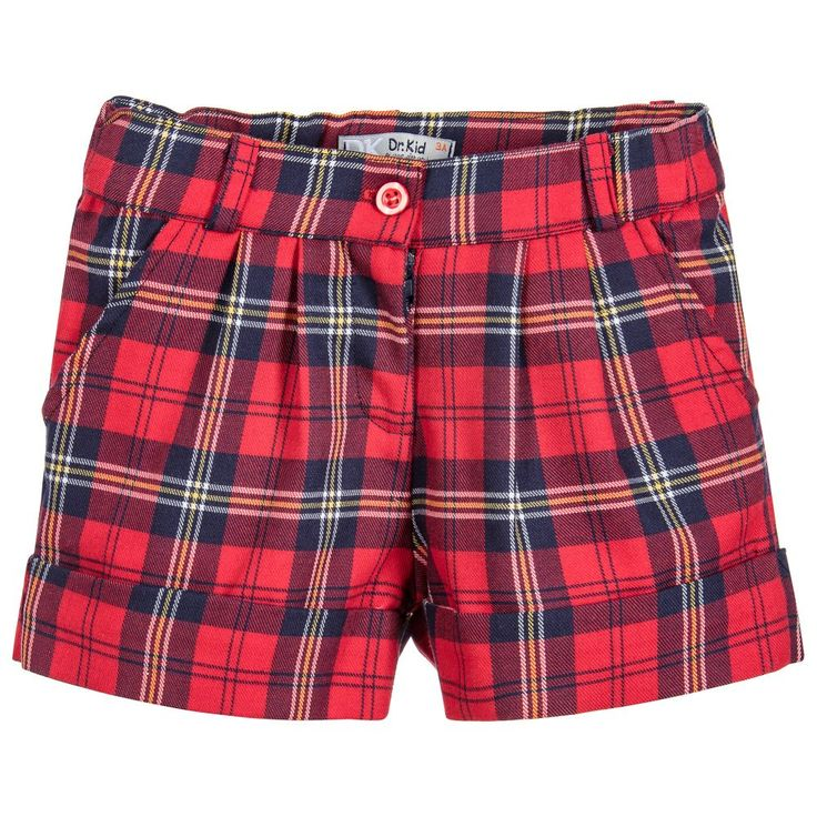 Dr. Kid Girls Red Tartan Shorts at Childrensalon.com