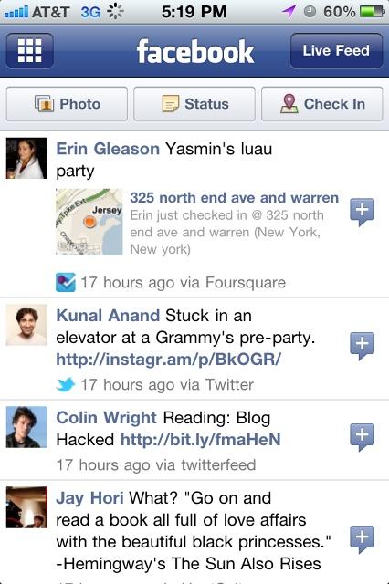 Facebook App - Activity Feed