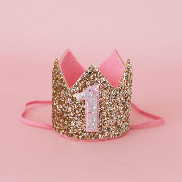 Glitter Crown, Gold & Pink First Birthday