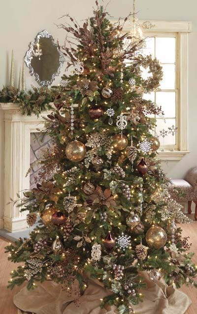 brown, chocolate, copper and gold ornaments for the color theme of Christmas Tree : decorator christmas tree