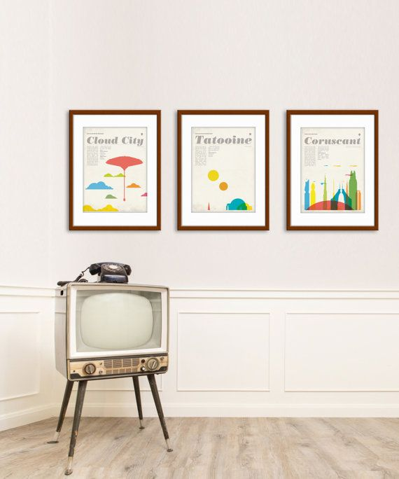 Star Wars inspired, poster set, 12X16 inch, print, retro, mid century, movie, home, office, decor, gift, Fathers Day