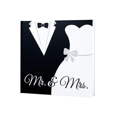 """Gästebuch """"Black & White"""". Gästebuch zur Hochzeit in Schwarz Weiß mit Bräutigamanzug und Hochzeitskleid und Mr & Mrs Schriftzug."""