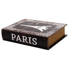 Storage Book Box MDF Paris Medium 18cm x 25cm x5.5cm